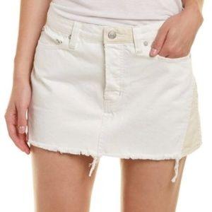 FREE PEOPLE Distressed White Denim Mini Skirt 2